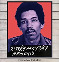 Jimi Hendrix Mugshot Wall Art - 8x10 Pop Art Poster, Contemporary Home Decor - Andy Warhol Style Print - Unique Room Decorations for Teens Room, Dorm, Bar - Gift for Woodstock, 60s Music Fans