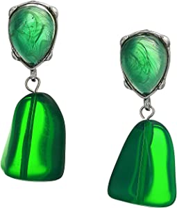 Rhodium Emerald Top/Drop Pierced Earrings