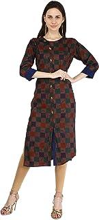 بلوزة Ramkudi Indian Women's Checks Cotton Kurti Brown Top