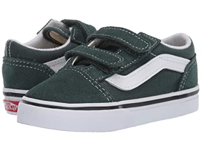 Vans Kids Old Skool V (Infant/Toddler) (Trekking Green/True White) Boys Shoes