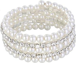 EVER FAITH Wedding Layers Cream Ivory Color Simulated Pearl Strand Bracelet Clear Austrian Crystal