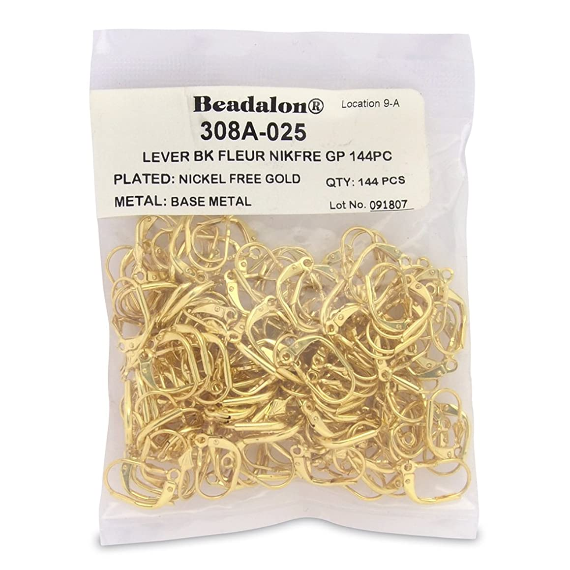 Artistic Wire Beadalon 144-Piece Fluer Lever Back, Nickel Free Gold Plate