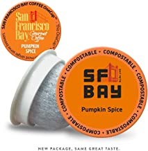 SF Bay Coffee Pumpkin Spice 80 Ct Flavored Medium Roast Compostable Coffee Pods, K Cup Compatible including Keurig 2.0 (Packaging May Vary)