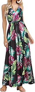 Womens Sleeveless V Neck Spaghetti Strap Pockets Beach Boho Tropical Summer Maxi Dress