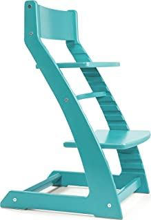 Turquoise Heartwood Adjustable Wooden High Chair Baby Highchair Solution for Babies and Toddlers Dining Highchair from 24 Months