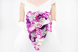 Abbie Home Cascading Bride Bouquet - Lavender Rose Calla Lily Purple Theme Wedding Flowers with Crystal Rhinestone Brooches Decoration (A Cascading Bouquet)