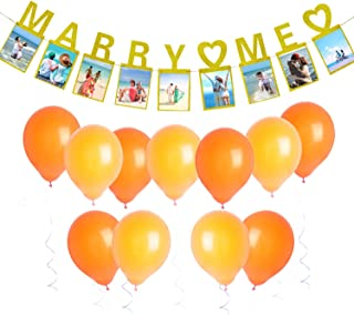 Gold Marry Me Photo Banner, Seasonsky 1 PCS Propose Marriage Photo Banner and Balloon for Marriage Party, Wedding Sign Bridal Shower Banner Hen Night Bunting
