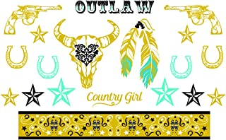 Western Gold, Black and Turquoise Metallic Temporary Tattoos - Horseshoe, Revolvers, Stars, Feathers - Stagecoach Accessory - 2 Sheets, 38 Total Tattoos - Custom Tattoos
