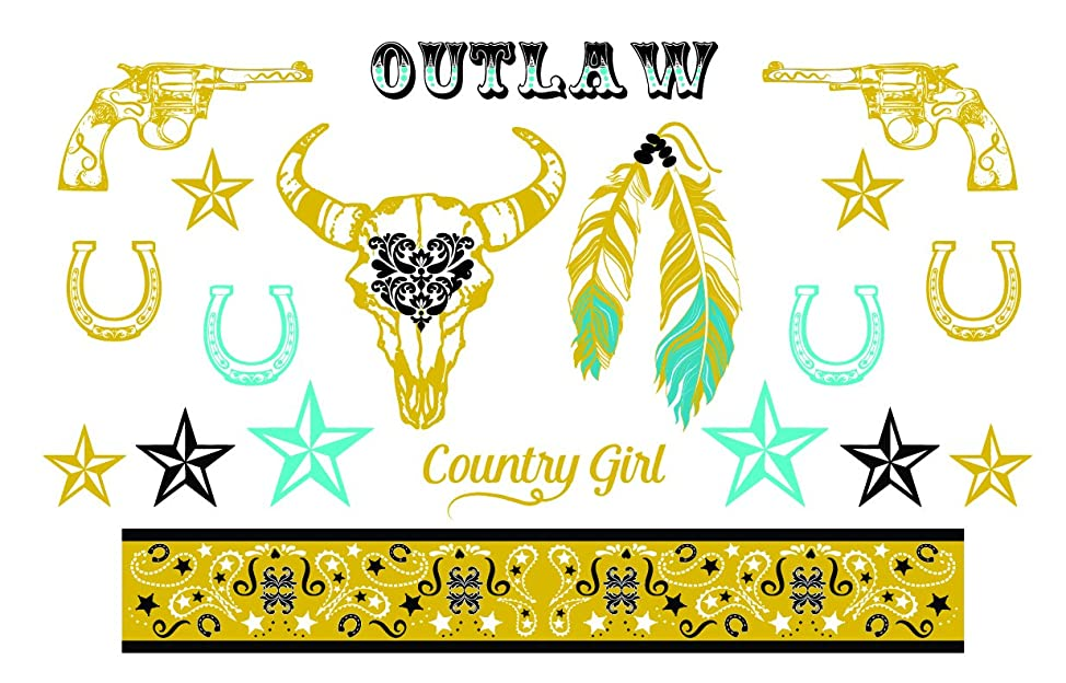 Western Gold, Black and Turquoise Metallic Temporary Tattoos - Horseshoe, Revolvers, Stars, Feathers - Stagecoach Accessory - 2 Sheets, 38 Total Tattoos - Custom Tattoos qmorppyt377