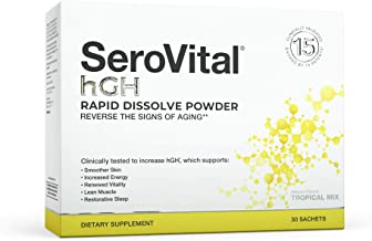 SeroVital Rapid Dissolve Powder, 30 Ct, Tropical Mix - Anti Aging Supplement with Human Growth Hormones to Help With Increased Energy, Smoother Skin, and Restorative Sleep