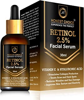 HONEST CHOICE Retinol Face Serum 30ml Blended With Vitamin C And Vitamin E, Glycolic Acid | Anti Aging | Sun Protection | Skin Whitening And Brightening Serum.