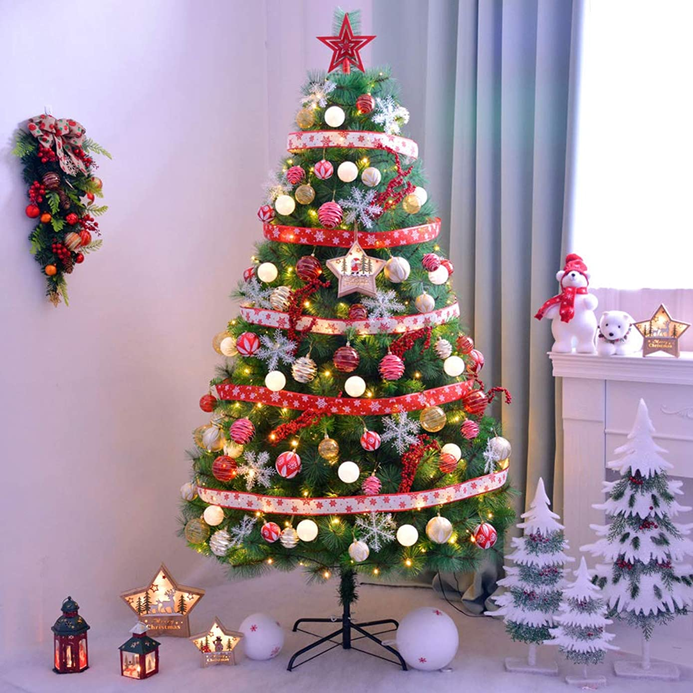 黙認するどれでも眩惑する6Ft 前-装飾 人工 クリスマスツリー ヒンジ 固体 金属製スタンド 式 クリスマス ツリー の屋内 休日- 150cm(59inch)