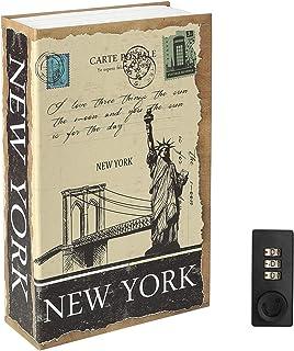 "Decaller Diversion Book Safe with Combination Lock, Safe Secret Hidden Metal Lock Box, 9 1/2"" x 6"" x 1 1/3"", New York"