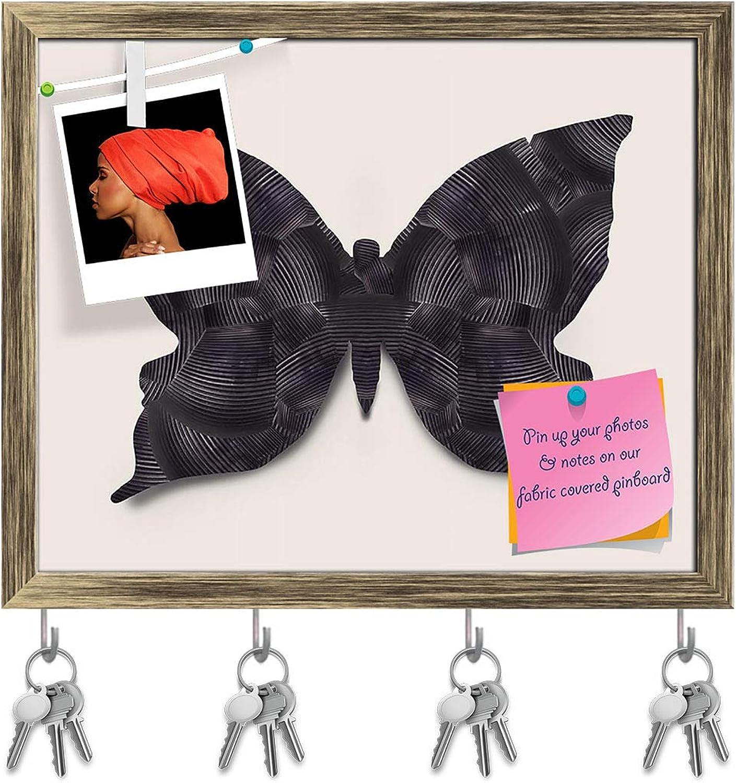 Artzfolio Black Butterfly Key Holder Hooks   Notice Pin Board   Antique golden Frame 19.5 X 16Inch