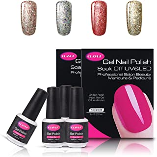 CLAVUZ 4pcs Starry Gel Nail Polish Color Collection Set Soak Off Glitter Galaxy Gel Nail Lacquer Super Bling Nail Art Manicure 8ml New Starter Gift Kit
