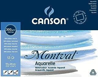 CANSON Montval® blok akwarelowy oklejony na okrągło, 19 x 24 cm, 12 arkuszy, 300 g/m², drobnoziarnisty