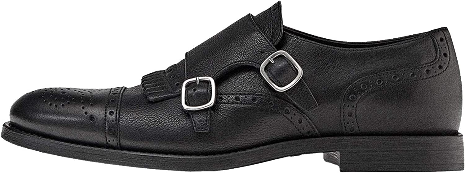 Massimo Dutti Men Limited Edition Black Leather Double Monk Strap shoes 4250 022