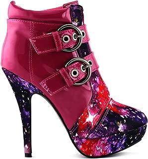 SHOW STORY Punk Buckle Night Sky High Heel Stiletto Platform Ankle Boots,LF30301