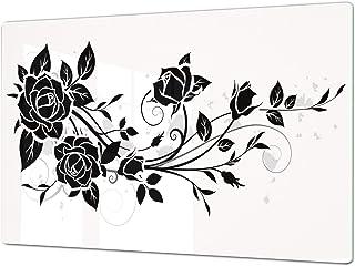 Salvaencimera Extra-Grande de vidrio templado - Conjunto de tablas para picar - Cubre Vitro Gigante – UNA PIEZA (80 x 52 cm) o DOS PIEZAS (40 x 52 cm) Serie de Flores DD06A