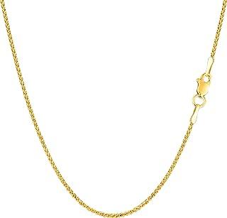 14k Yellow Gold Round Diamond Cut Wheat Chain Necklace, 1.15mm