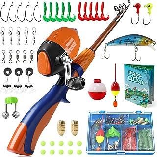 PLUSINNO 子供用 釣り竿 ポータブル 伸縮自在 釣り竿 リール フルキット スピンキャスト ユース 釣り竿 釣り道具 子供用 男の子用