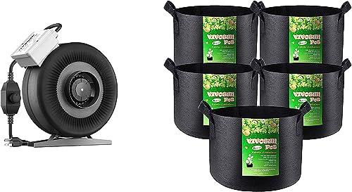 lowest VIVOSUN 6 Inch 440 CFM Inline Duct Fan, 5-Pack 5 sale Gallon lowest Grow Bags online