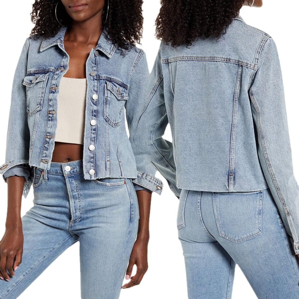 Womens Basic Button Denim Jacket Denim Long Sleeve Jean Jacket Lightweight Denim Jacket For Women