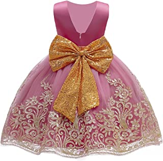 HAPPYMA Toddler Kid Baby Girls Dress Backless Pageant Princess Dresses Wedding Party Sequins Bowknot Tutu Gown 1-5T