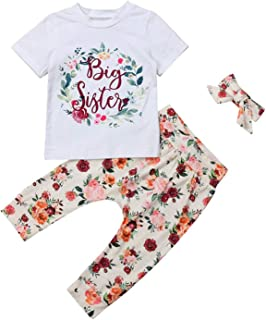 Toddler Girls Sister Floral Pants Set Kids Baby Big Sister Short Sleeve Top Shirt+Floral Long Pants+Headband Outfits