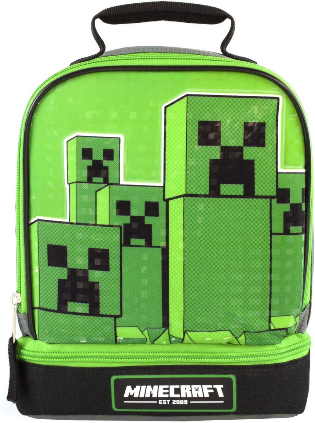Minecraft Kids Lunchbox Creeper Compartimento con cremallera Green Lunch bag Un tamaño
