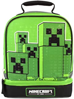 Minecraft Kids Lunchbox Creeper Zip Compartment Green Lunch Bag One Size