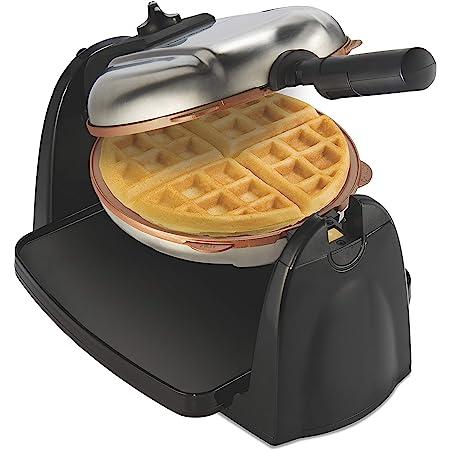 Hamilton Beach 26031 Belgian Waffle Maker with Removable Nonstick Plates, Single Flip, Ceramic Grids, Black