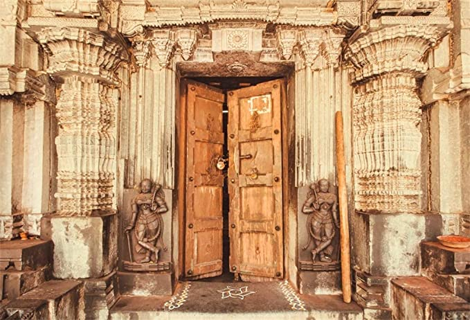 Laeacco 7x5FT Vinyl Backdrop Photography Background Traditional Style Design Historical Hindu Temple with Collumns Wooden Door Sculptures India Backdrop Personal Shoot Photo Studio Prop