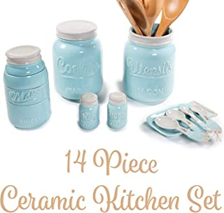 Mason Jar Kitchen Utensil Set - Includes Cookie Jar, Utensil Holder, Measuring Cups, Spoon Rest, Measuring Spoons & Salt/Pepper Shakers (Blue)