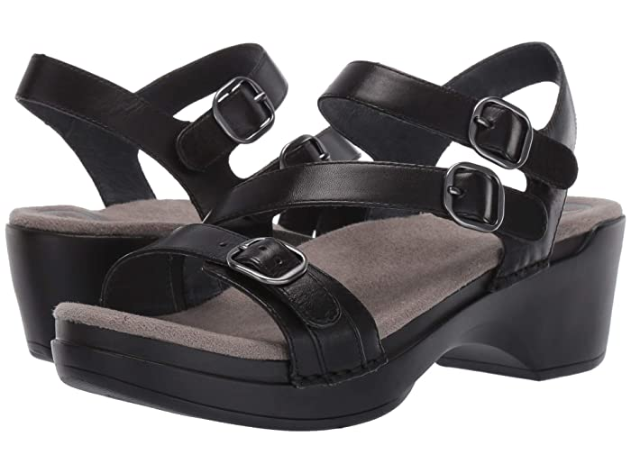 Dansko  Sacha (Black Burnished Calf) Womens Dress Sandals
