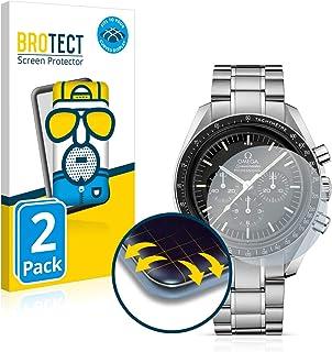 BROTECT Protector Pantalla Completa Mate Compatible con Omega Speedmaster Moonwatch Professional (42 mm) (2 Unidades) 3D Curvo Película Protectora
