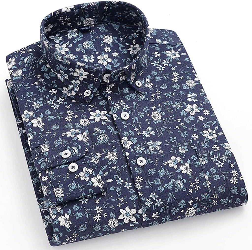 ZLDGYG ZMMDD Men's Casual Printed Cotton Oxford Tampa Mall Long Beach Mall 100% Sing Shirts