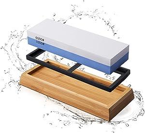MIDO Professional Abrasive Whetstone Knife Sharpener 2 Side Grit 1000/6000 Knife Sharpener Stone, Knife Sharpening Stone with Non-slip Bamboo Base, Knife Sharpeners Tool Kit for Kitchen Hunting