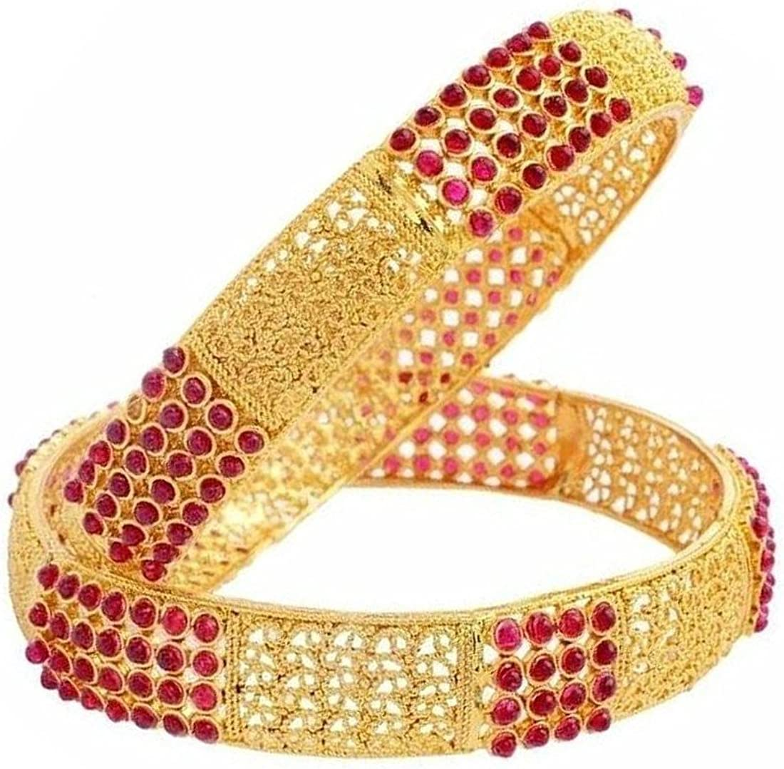 Crunchy Fashion Bollywood Style Party Wear Traditional Indian Jewelry Gold Bangle Set for Women