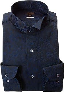 [スタイルワークス] ドレスシャツ ワイシャツ シャツ メンズ 国産 長袖 綿100% スリムフィット ウィングカラー 濃紺 ジャガード織フラワーガーデン 2002