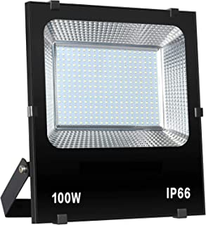 100W LED Flood Light Outdoor IP66 Waterproof 10000Lm for Garage, Garden, Yard (No Plug Included)