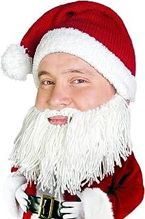 BEARD HEAD Knitted Santa Beard Hat with Funny Beard Facemask