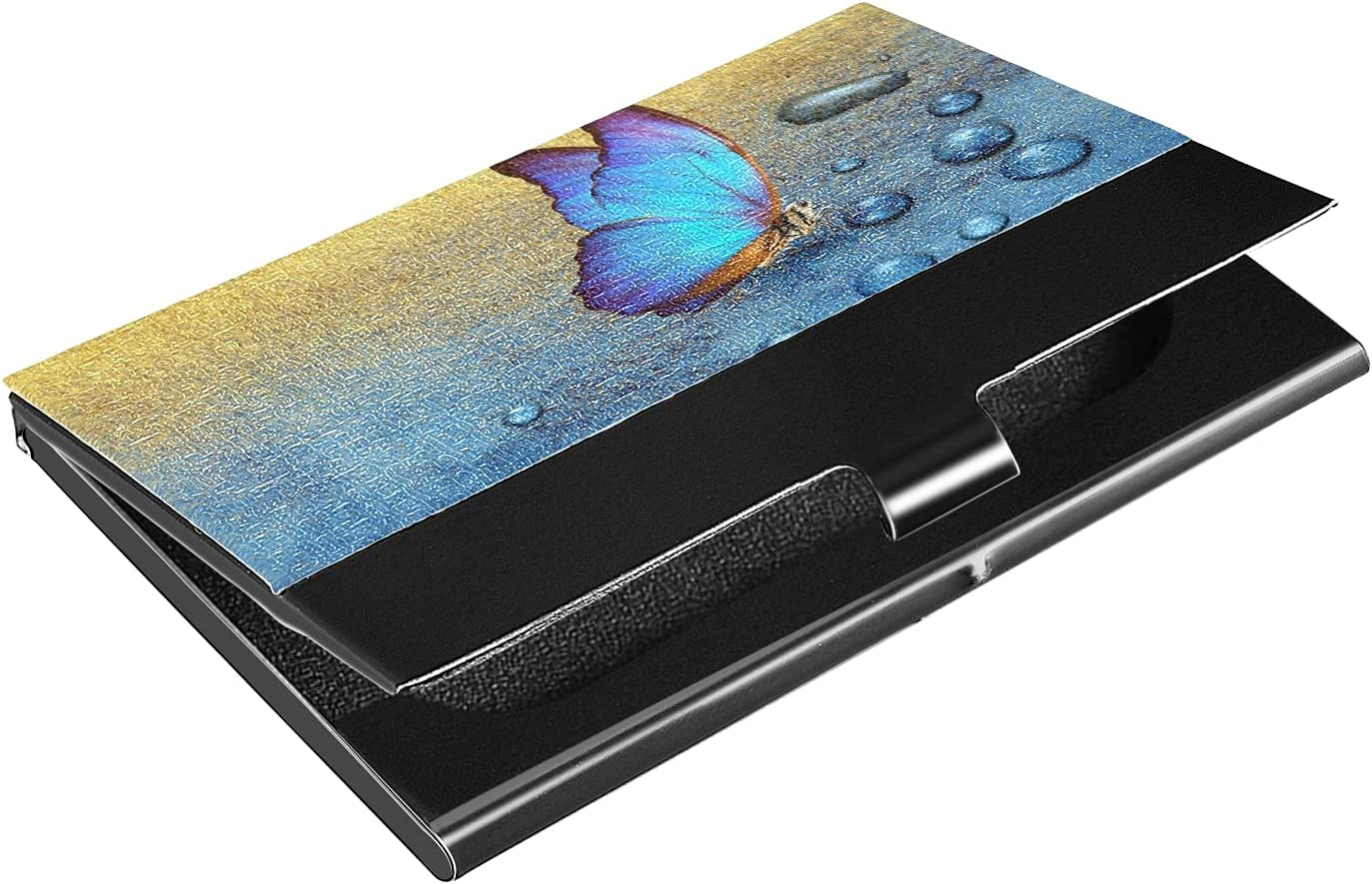 OTVEE Butterfly On Drops Business Card Holder Wallet Stainless Steel & Leather Pocket Business Card Case Organizer Slim Name Card ID Card Holders Credit Card Wallet Carrier Purse for Women Men