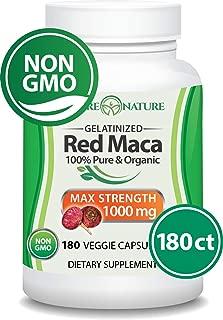 Organic Red Maca Supplement - 500mg X 180 Capules (Vegan) - Gluten-Free