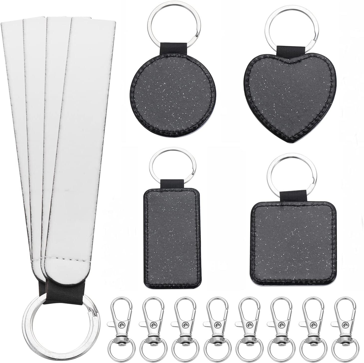 16PCS Sublimation Blanks Keychains Kits, Blank PU Leather Keyrings Set with Wristlet Lanyard & Swivel Snap Hooks, Square Sublimation Heat Transfer Blank Keychains for DIY Tags (Black)