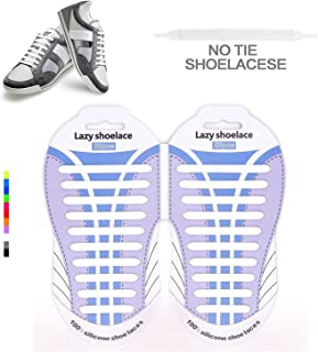 No Tie Laces–Best self-tie Sholacesの大人と子供–防水&伸縮性シリコンゴムフラットTieless Shoelaces for Athletic Running Shoe Lacesマルチカラーのスニーカーブーツボード靴