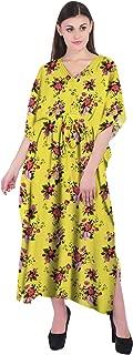 RADANYA Floral Women Loose Kaftan Swimsuit Cover Up Beach Long Casual Caftan Dress