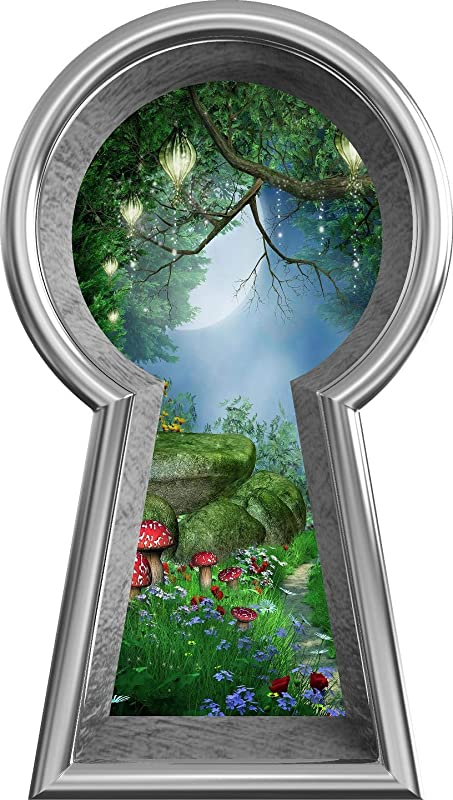 24 Silver Keyhole 3D Window Wall Decal Enchanted Lantern Forest Alice In Wonderland Kids Room Decor Fantasy Mushroom Fairy Tale Removable Vinyl Wall Sticker 24 Tall X 13 6 Wide