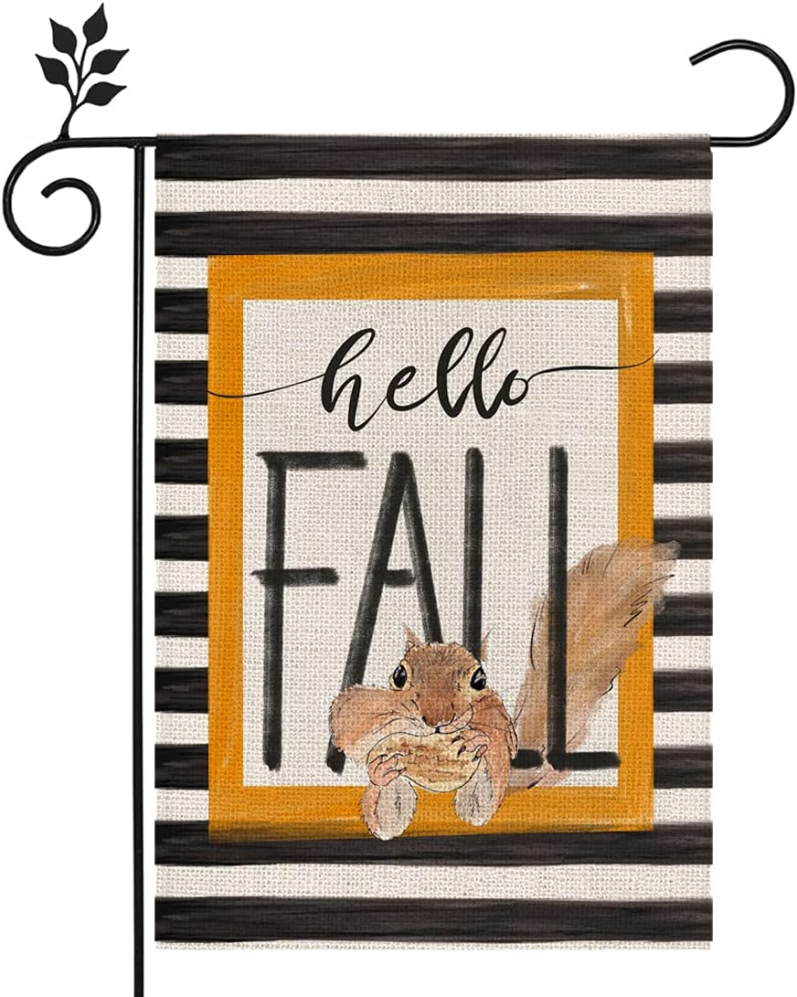 CROWNED BEAUTY Hello Fall Garden Flag Stripe Squirrel 12×18 Inch Double Sided Vertical Rustic Farmhouse Yard Seasonal Holiday Outdoor Decor CF216-12