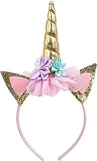 Newin Star Einhorn Haarband, Bunter Einhorn Haarreif Mädchen Haarschmuck für Alltäglichen Gebrauch, Kostüm Party, Karneval, Halloween,usw. (Gold Horn)